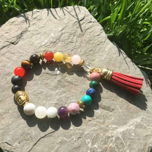 Made with 8mm Rose Quartz, 8mm Clear Quartz, 8mm Tiger Eye, 8mm Shungite, 8mm Obsidian, 8mm White Howlite, 8mm Carnelian, 8mm Citrin, 8mm Lemon Jade, 8mm Lapis Lazuli, 8mm Moonstone, 8mm Malachite, 8mm Rhodonite, 8mm Jadeted, 8mm Amethyst, 8mm Tourmaline Brown, 8mm Lipidolite, 8mm Turquoise, Gold, Luxury AAA Grade Natural Gemstones, Strong Elastic Stretch Cord, Exclusive Original Designs, Reiki Infused by Energy Healer Kerry-Ann Ingram