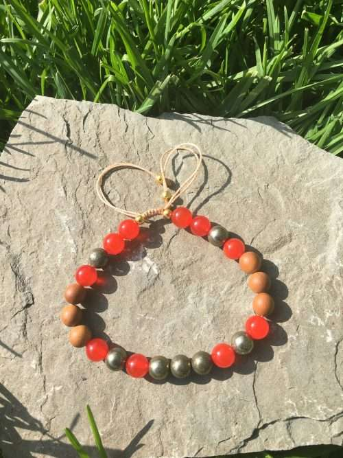 8mm Pyrite, 8mm Sandalwood, 8mm Red Carnelian, Luxury AAA Grade Natural Gemstones, Strong Elastic Stretch Cord, Exclusive Original Designs, Reiki Infused, Energy Healer Kerry Ann Ingram