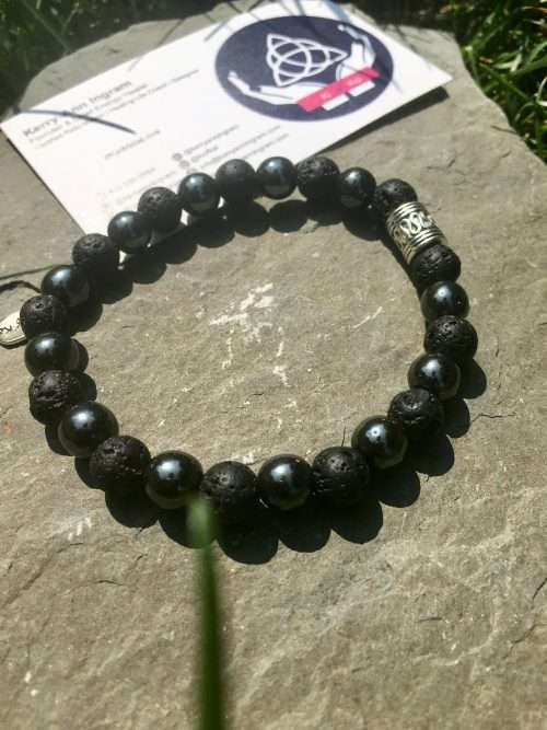 8mm Lava Stone, 8mm Hematite, Luxury AAA Grade Natural Gemstones, Strong Elastic Stretch Cord, Exclusive Original Designs, Aromatherapy, Reiki Infused by Energy Healer Kerry-Ann Ingram