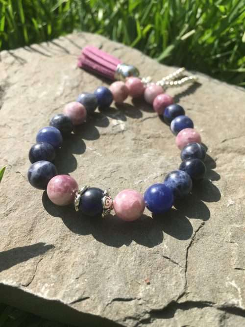 8mm Lepidolite, 8mm Sodalite, Luxury AAA Grade Natural Gemstones, Strong Elastic Stretch Cord, Exclusive Original Designs, Reiki Infused by Energy Healer Kerry-Ann Ingram