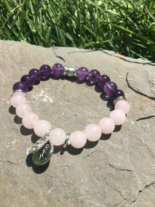 8mm Amethyst, 8mm Rose Quartz, Luxury AAA Grade Natural Gemstones, Strong Elastic Stretch Cord, Exclusive Original Designs, Reiki Infused by Energy Healer Kerry-Ann Ingram