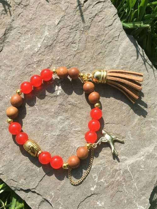 8mm Sandalwood, 8mm Red Carnelian, Strong Elastic Stretch Cord, Gold Buddha head, Gold Hanging bird, Brown Tassel, Exclusive Original Designs, Reiki Infused, Energy Healer Kerry Ann Ingram