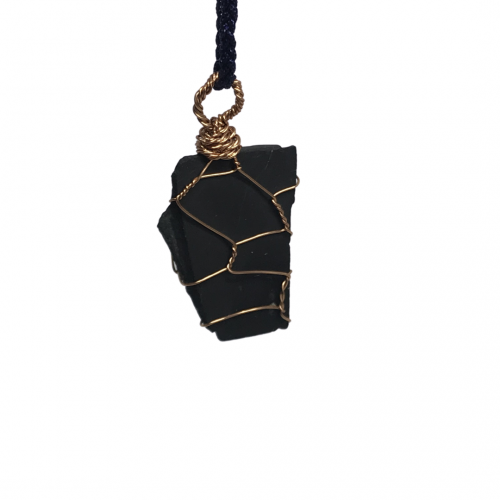 Raw Handmade Shungite EMF Reiki Pendant Necklace